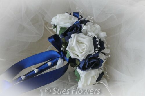 Lovely Bridesmaid Bouquet in Navy Blue and Ivory