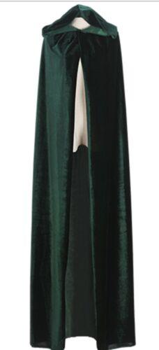 Hooded Velvet Halloween Cloak Cape Wizard Vampire Witch Wedding Wicca Medieval