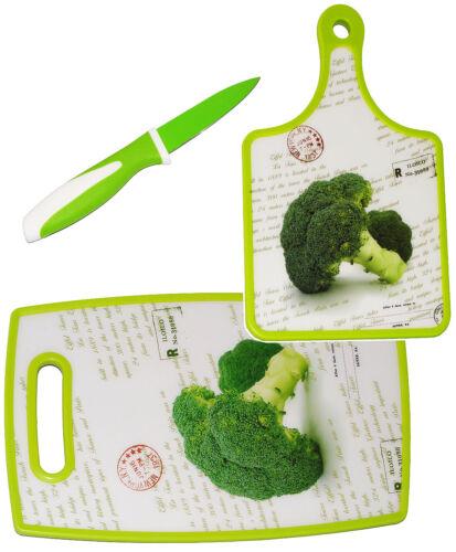 """couteau /& 2 COUPE planches//petit-déjeuner Planche 3 Pcs Set /""""brocoli-légumes"""
