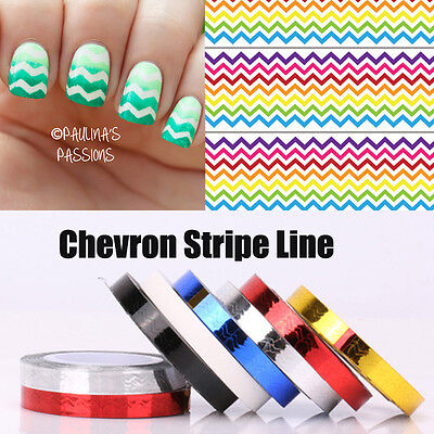 1pc Chevron Nail Striping Tape Colorful Nail Art Tape Line Stickers Lines