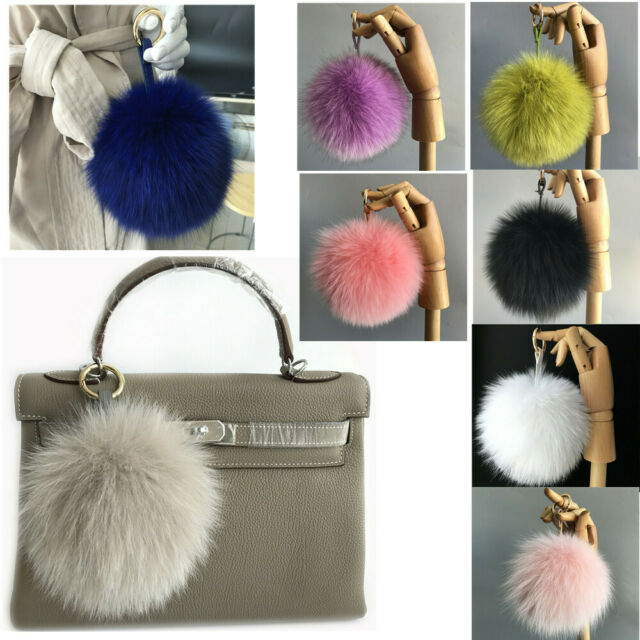 """6/"""" Large Real Fox Fur Ball Pompom Keychain Keyring Bag Phone Pendent Accessory"""