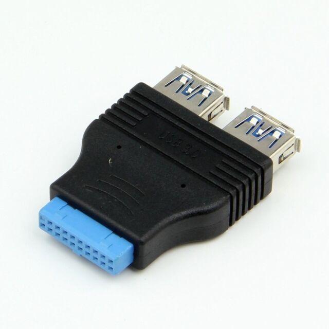 USB 3.0 Motherboard Header 20 Pin to 2 USB A Port Socket USB Female Adapter Hub