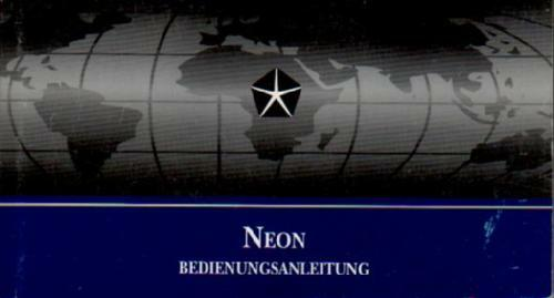 CHRYSLER NEON manuale di istruzioni 1998 MANUALE MANUALE bordo libro BA