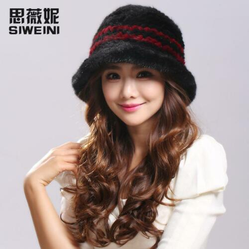 Genuine 100/%Real mink Knitted Fur hat Women/'s girl Winter warm Russian fur hat