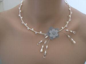 Collier Ivoire Gris Cristal Fleur robe Mariée Mariage Soirée perle ... 22a43b362cff