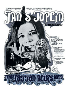 Sixties - Janis Joplin and her Band - Concert Poster reprint (1969)