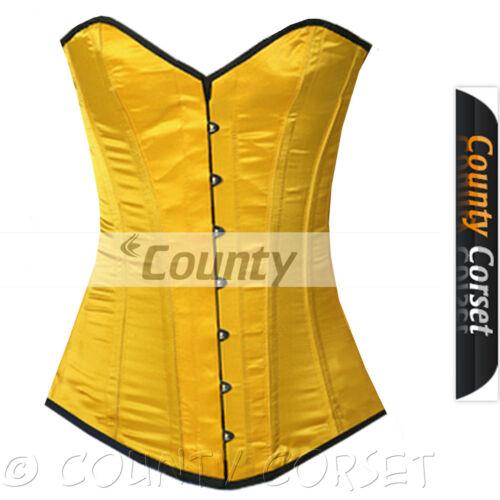 Stecche d/'acciaio a lungo sul torso Overbust corsetto allacciatura posteriore Giallo corsetto in Satin korset