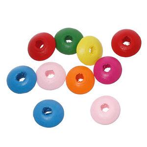 20-Mixte-Perles-intercalaires-en-Bois-14mm-Perle-rondelle-14x6-mm-pour-Creation