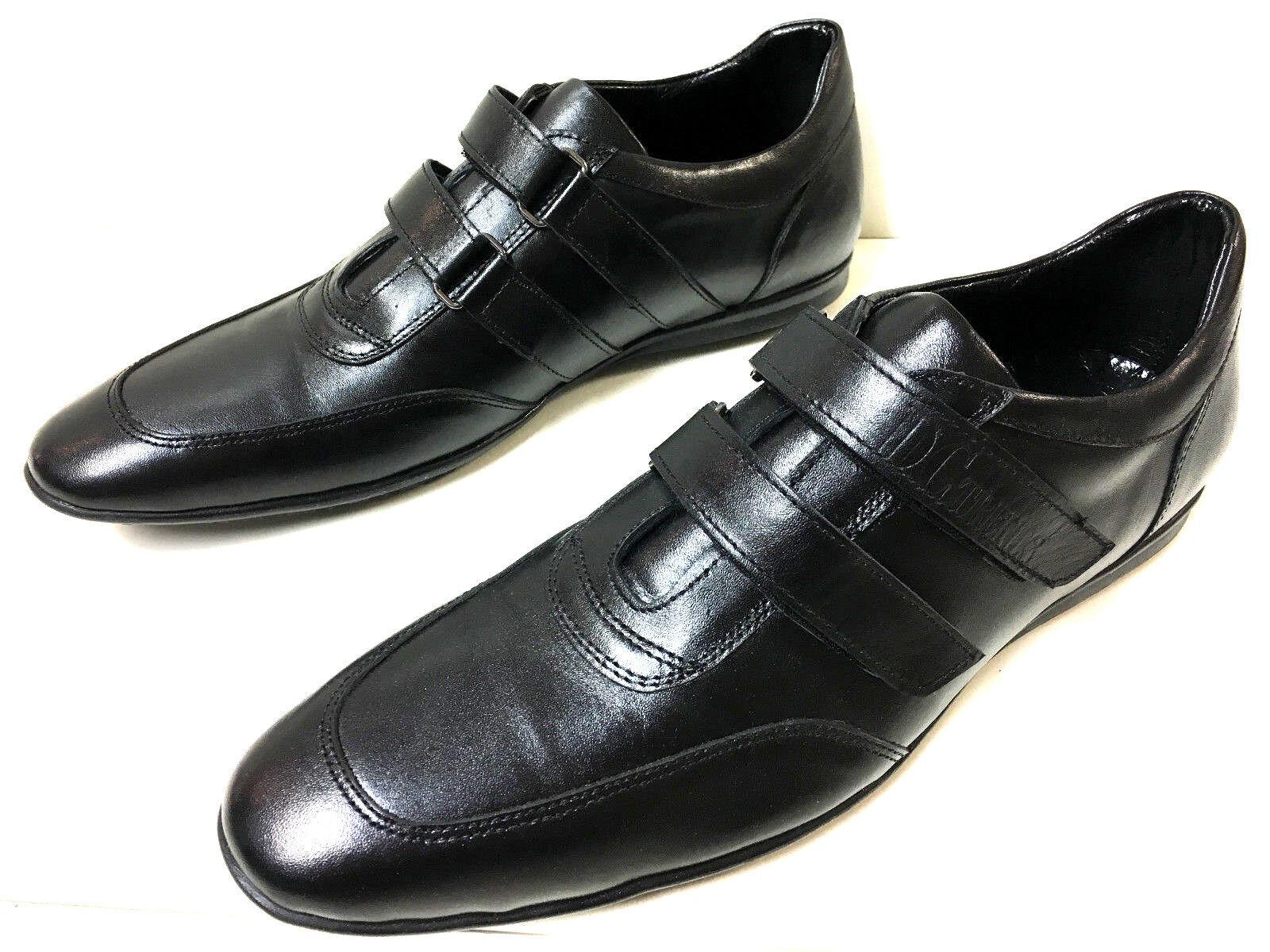 Diseño caballero cuero auténtico zapatillas zapatos de mano de suela plana negro 43