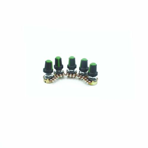 5PCS  Green B50K Ohm Single Linear Rotary Taper Potentiometer  3pin