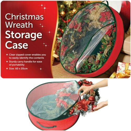 PREMIUM CHRISTMAS WREATH STORAGE DECORATION STORAGE CASE RED CLEAR ZIPPED COVER