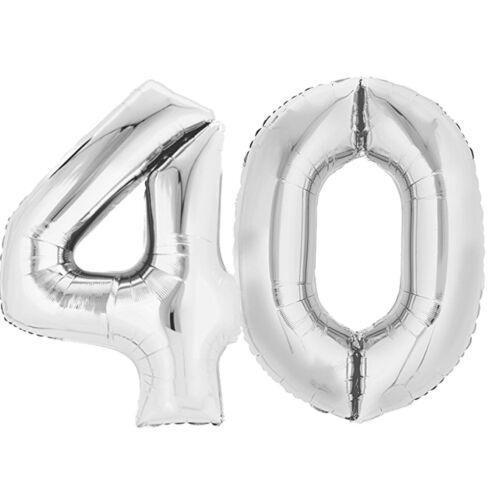 "Folienballon 80 cm SILBER /""40/"" Zahlenballon Luftballon Geburtstag Helium Zahl"