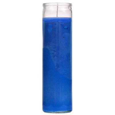 VELADORAS AZUL SANTERIA PACK OF 12 BLUE GLASS CANDLE 5-7 DAYS VELA UNSCENTED