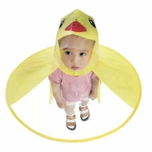 Foldable Cartoon Duck Kids Raincoat Umbrella UFO Shape Rain Hat Cape ... 1be8c75b1d54