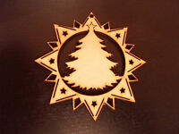 5 X Star Baubles Wooden Mdf Christmas Tree Decoration Blank Tag