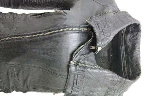 Black Neck Biker Retro Zip Leather Jacket Removable Short Ladies Zq1w7F