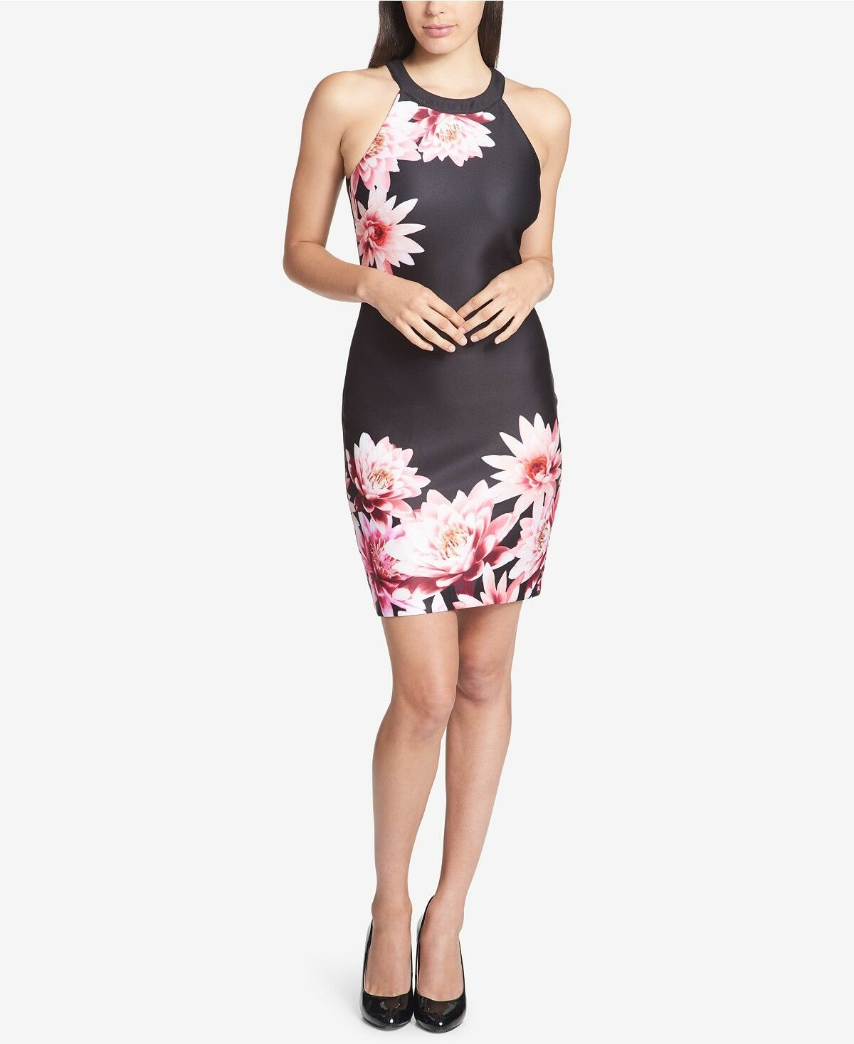 Gorgeous  Guess schwarz and Floral-Print Halter Neck Dress Größe Two (2) New w Tags