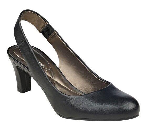Easy Spirit Audrina black leather slingback pumps pumps pumps 2.75   heels sz 8 Med NEW 56600d