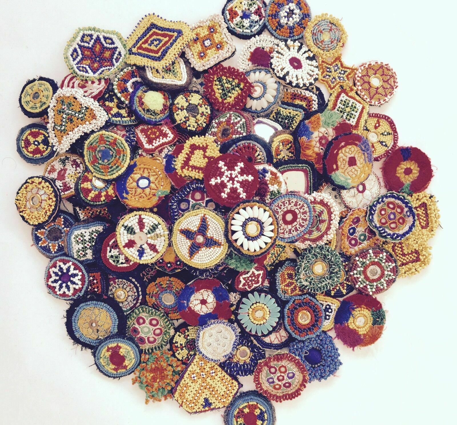 Small Kuchi Afghan Tribal Beaded Medallion 40 Pakistan Medals Patches Gypsy Art