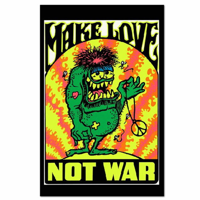 Make Love Not War Psychedelic Poster NEW 11x17 Reproduction 1970 Peace Handbill