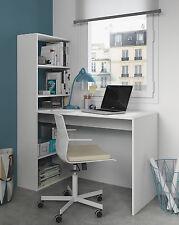 Mesa de ordenador PC  y escritorio con estanteria reversible en blanco alpes