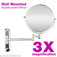3x Magnifying Wall Mounted Makeup Cosmetic Mirror Beauty Bathroom Double Side