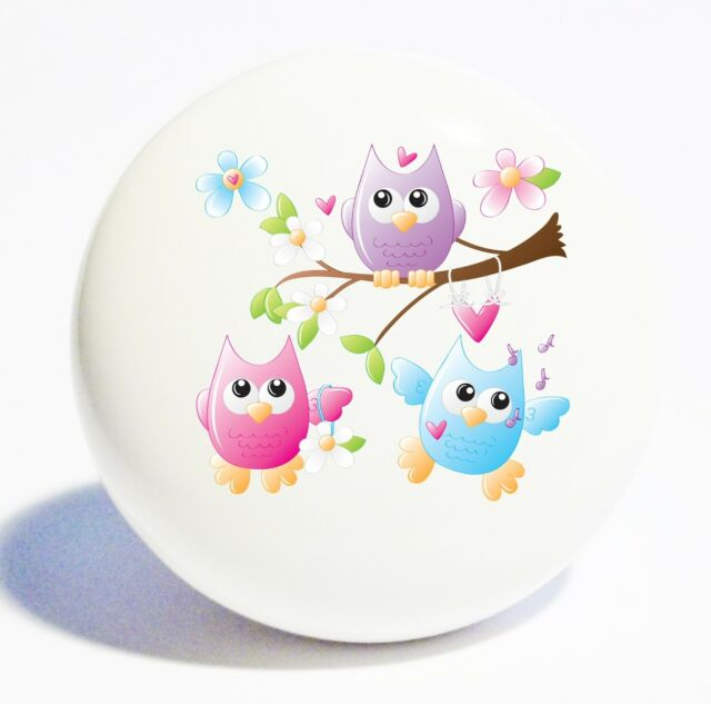 COLORFUL 3 OWLS HOME DECOR CERAMIC KITCHEN  KNOB DRAWER CABINET PULL