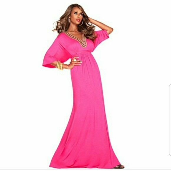 IMAN GLAM TO THE MAX MAGENTA BEADED 3 4 SLEEVE FULL LENGTH DRESS SIZE SMALL NWT