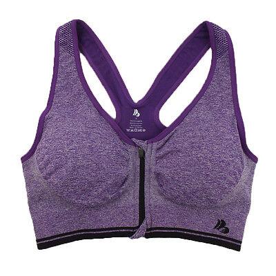 Women Sport Bra Running Gym Yoga Padded Fitness Tops Tank Workout Zipper Stretch