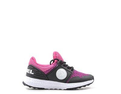 2019 Ultimo Disegno Scarpe Diesel Bambini Sneakers Trendy Nero/fuxia Bc0045-p1313-h6462s