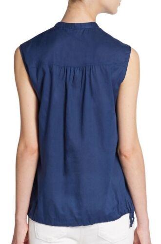 Details about  /EILEEN FISHER Blue Denim Organic Cotton Twill Voile Mandarin Drawstring Top $158