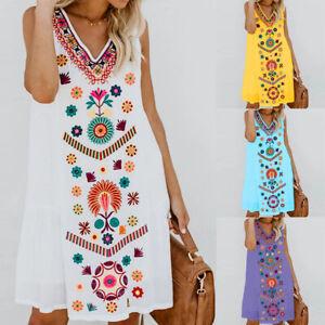 Womens Floral Sleeveless Mini Dress Vest Tops Summer Boho Beach Sundress 2020