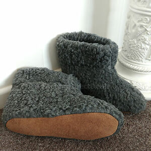 CHARCOAL-Pure-Sheep-Wool-Boots-Slippers-Sheepskin-Suede-Sole-Women-039-s-Ladies-Mens