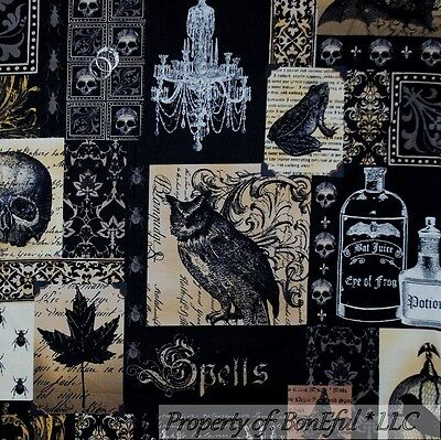 BonEful Fabric FQ Cotton Quilt Black Brown Gray Lg Skull Magic Frog Owl Bird Bat