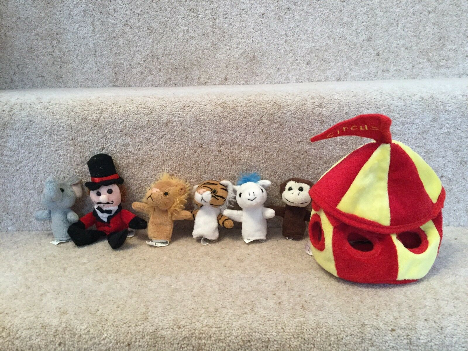 The Puppet Company Circus Tent And Finger Puppets Animals Ring Master Rare
