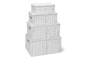 Storage-Hamper-Basket-White-Set-Of-4-Paper-Rope-With-Lid-By-Arpan