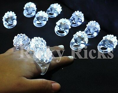 50 PCS Light-Up White Jelly Rings Flashing LED Frozen Snow Favors Blinking Bumpy