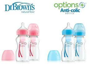 Natural Flow Wide Neck 2//4 PK 270ml Baby Feeding Bottles Set DR BROWN Optoins