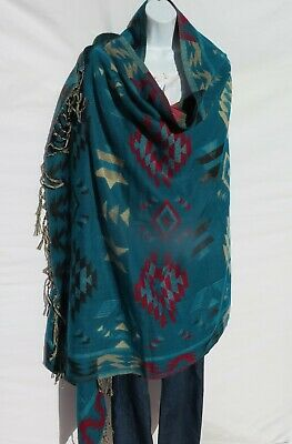 """Yak//Cotton Blend /""""Gujrati/"""" Embroidery Shawl//Throw Handloomed Base Color D Green"""