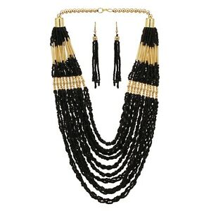 MultiStrand-Gold-Tone-Beauty-Necklace-Black-Seed-Beads-Earring-Long-Handcrafted