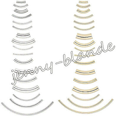 Curved Tube Silver Gold Plated Elbow Noodle Spacer Loose Bead Finding Many Size