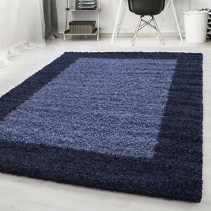 Navy-Fluffy-Rug-Deep-Pile-Shaggy-Modern-Pattern-Round-Mat-Bedroom-Lounge-Carpet