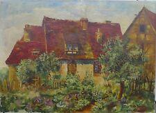 SIGRID BECH KNUDSEN (1864-1948) HAUS MIT BLUMEN GARTEN -IMPRESSIONIST