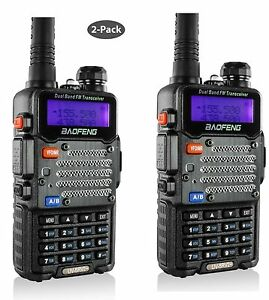 2-Pack-Baofeng-Black-UV-5R-V2-Dual-Band-VHF-UHF-Two-Way-HAM-Radio-Transceiver