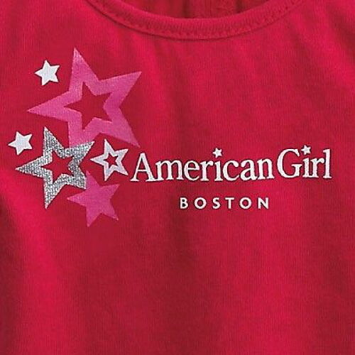 "NWT AMERICAN GIRL BOSTON RED FOIL STAR TEE T SHIRT TOP FOR 18/"" BLAIRE DOLLS NIP"