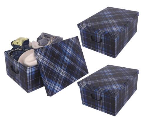 3er XXL Deko Karton Geschenkkarton Karton Box Schachtel Geschenkpapier Kariert