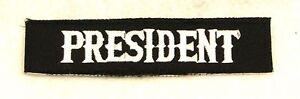 President White on Black Small Badge for Biker Vest Jacket Patch