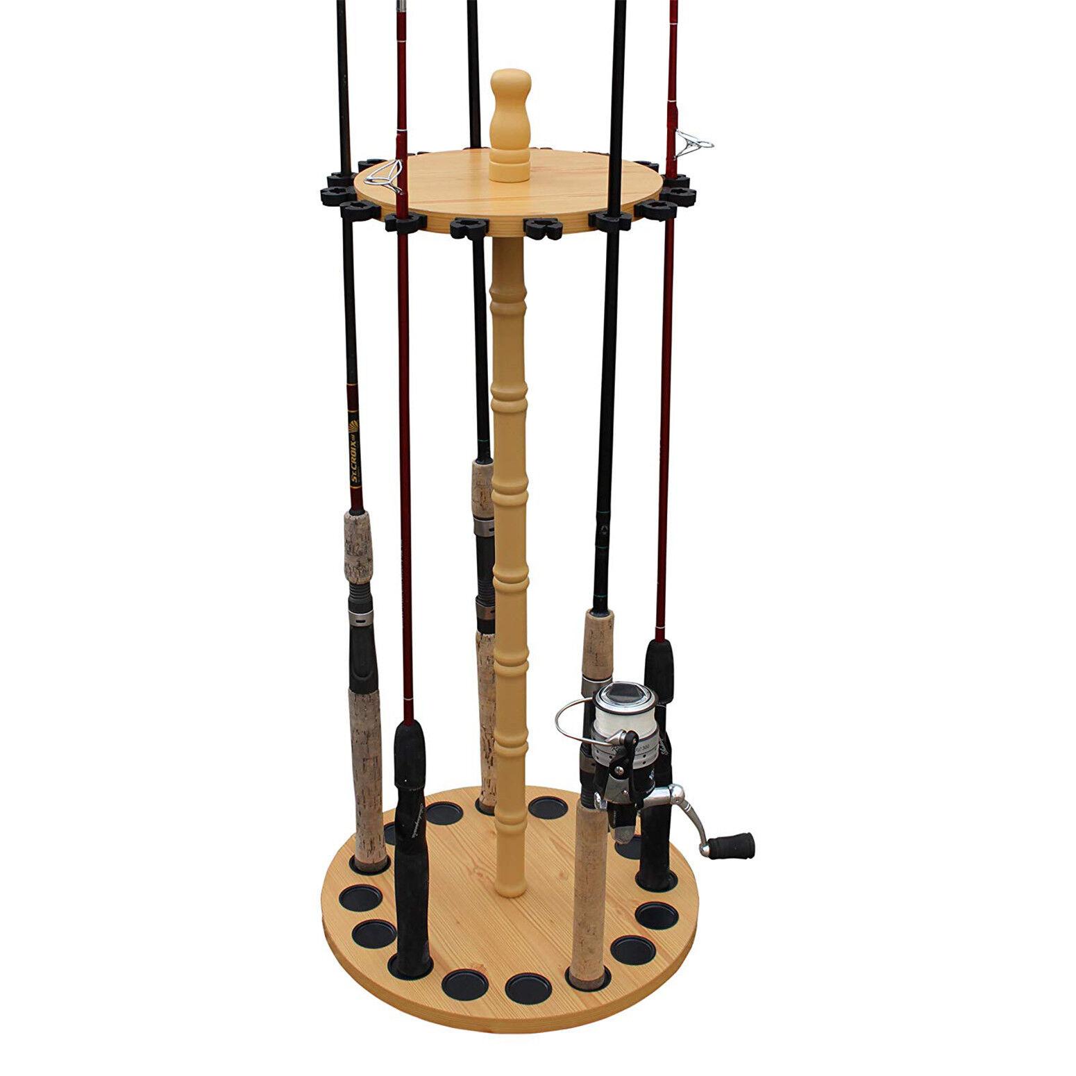 Fishing Rod Holder Portable 16 Rods Storage Organizer Rack Wood Hanger Equipment For Sale Online