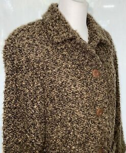 Saks Fifth Avenue Folio Brown Lined Blazer Sweater Jacket Womens Size 12