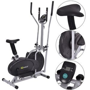 Pro Cross Trainer 2-in-1 Fitness Elliptical Exercise Bike - Home Workout Machine